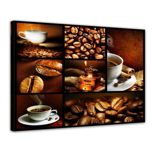Kunstdruck - Kaffee Collage II - Bild auf Leinwand - 70x50 cm 1 teilig - Leinwandbilder - Bilder als...