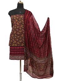Gleamberry Women's Block Printed Cotton Dress Material Set (GBDM13, Wine, Free Size)
