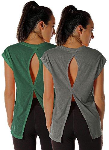 icyzone Damen Fitness-Trainings Shirt mit Rundhals - unifarbenes Sportshirt Lang, Extended Shoulder Tee (XL, Charcoal/Army)