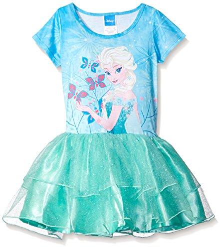 Disney Little Girls' Frozen Elsa Tutu Dress, Bleached Teal, (Tutu Elsa Frozen)