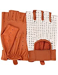 Classic Genuine Soft Nappa Leather Half Finger Driving Gloves Crochet String back Chauffeur Vintage fashion (Bronze, Large)
