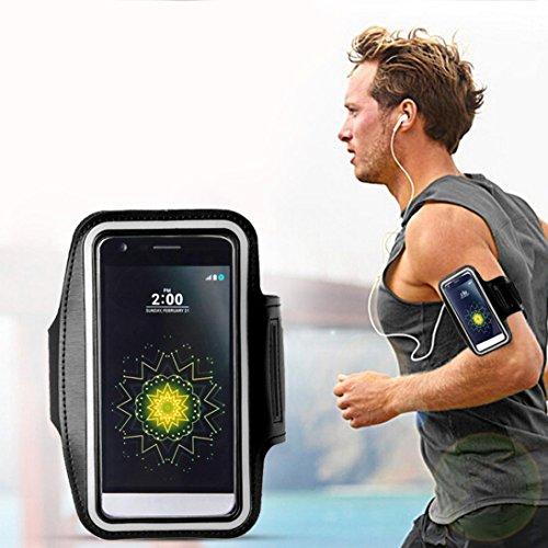 Saingace® Armband-Gymnastik-laufender Sport-Armbinde-Abdeckungs-Fall 5,8 Zoll Universal Für LG G5, Gymnastik, Jogging, Workout, Rad fahren, Wandern (Schwarz)