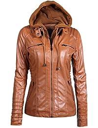 EARS - Frauen Künstliche Leder Slim Kapuzenjacke Overcoat Mantel Revers  abnehmbare Reißverschluss Outwear Tops ... c458f4cb1c