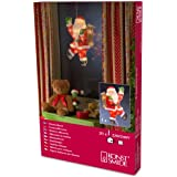 """Konstsmide 2850-000 Fensterbild """"Weihnachtsmann"""" / für Innen (IP20) /  230V Innen / 20 klare Birnen / weißes Kabel"""