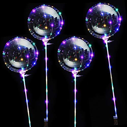 Amasawa 4 Piezas 20 Pulgadas 3M LED Helium Globos Bombilla Balloon con Barras De Soporte para Cumpleaños Bodas Celebraciones (Transparente)