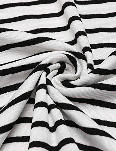 Damen Gestreiftes Shirt Kurze Ärmel Bluse Ripp Oberteil Weiß schwarz Gestreifte