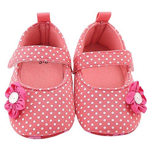 MiyaSudy Baby Schuhe Neugeborenen Mädchen Polka dots Blume Anti-Rutsch Schuhe Erste Wanderer 0-18 Monate Pink