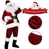 sumuya Disfraz de Papá Noel para Hombre (6 Piezas), Disfraz Santa Claus, Navidad Traje de Papá Noel, Color Vino Rojo.