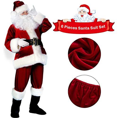 C-Oral Weihnachtsmannkostüm Kostüm Weihnachten Santa Claus Nikolauskostüm 6-teilig, Weinrot / Kombi-Set