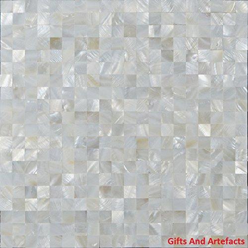 Gifts And Artefacts 61cm quadratisch weiß Marmor Luxus Perlmutt Stein Sofa Tisch Top für Wohnzimmer - Marmor Top Sofa Tisch