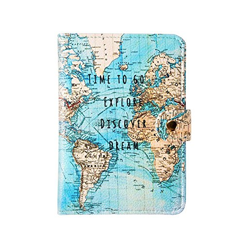 Saxrtell88 SUPEWOLD Reise-Dokumenten-Organizer, Kreditkartenetui, Schutzhülle, Leder, Kartenhalter (Stil 1, Flamingo), Vintage-Karte -
