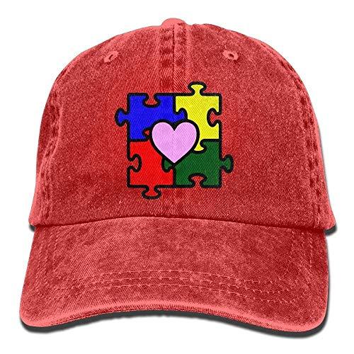rongxincailiaoke Gorras béisbol Denim Baseball Cap Autism Heart Puzzle Autism Awareness Men Women Golf Hats Polo Style Low Profile