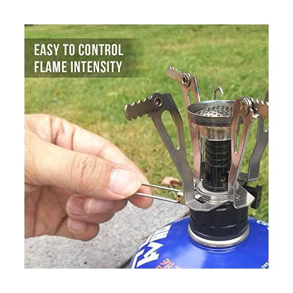 TOMSHOO Camping Stove/Backpacking Stove and windshield Backpacking Stove for Outdoor Hiking Picnic BBQ 4