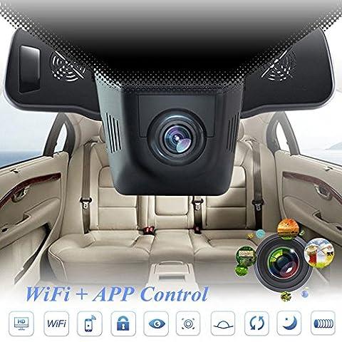 verstecktem Auto DVR Kamera, lonshell Full HD 1080p Video Recorder, 170° Ultra Weitwinkel Dashboard Cam mit Nachtsicht (schwarz)