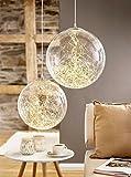 Glas Kugel mit Microlichterkette - 100 LEDs - Durchmesser 20cm - Indoor & Outdoor - Zuleitung 3m - Hängelampe