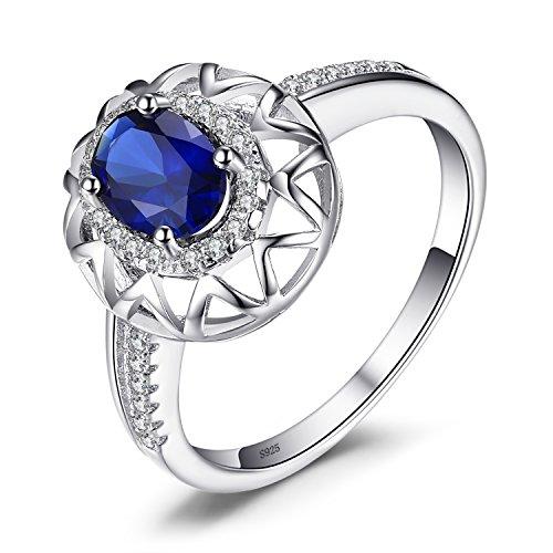 artiger Design 1.2ct Erstellt Blue Sapphire Ring 925 Sterling Silber ()