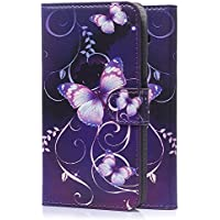 tinxi® Kunstleder Tasche für Samsung Galaxy J5 Tasche Schutz Hülle Schale Etui Case Cover Standfunktion mit Karten Slot lila Schmetterling