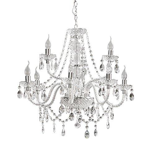 Großer Kronleuchter CRYSTAL 9-flammig Königlicher Lüster klar Acrylglas E14 Kerzen Barock Deckenlampe