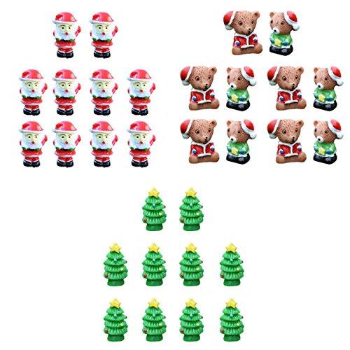 Fenteer 30er Miniatur Ornamente Fee Verzierung Set Santa Bären Bäume Form Micro Landschaft Mini Harz Bonsai -