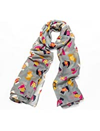 Multi-Coloured Scotty Dog Print Wide Grey Scarf