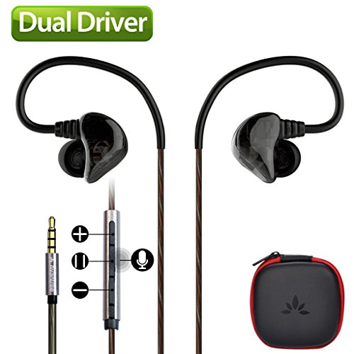 Avantree Dual Driver High Definition in-Ear Monitor Kopfhörer mit Mikrofon und Lautstärkeregler und Musik Track, Heavy Bass, Sports in-Ear Kopfhörer [2Jahre Garantie]