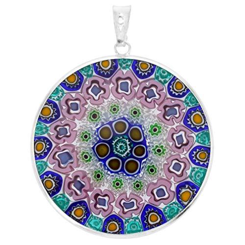 5aea7b35877b GlassOfVenice - Cristal de Murano - Colgante Millefiori con marco plateado  3