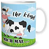 TRIOSK Kuh Tasse und Spruch - Ihr könnt Mich mal - lustiges Geschenk mit Kuhmotiv für Frauen Freundin Kollegin Arbeit Büro, Weiß Bunt