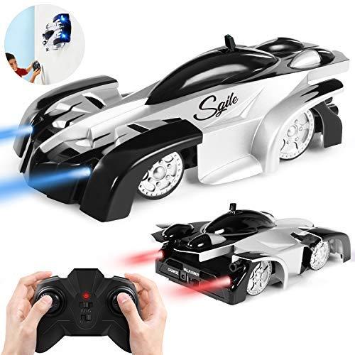 SGILE Auto Telecomandata, Macchina telecomandata con 360 Rotazione,Due modalità Wall/Floor e 4 luci a LED, Auto Racer, Ideale Regalo Giocattole per Bambini, Nero