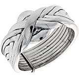 Revoni Sterling Silver 8-Piece Love Knot Braided Design Puzzle Ring Band, 1/2 in. (12mm) wide