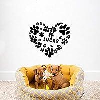 Perro personalizado personalizado nombre perrito con el corazón personalizado pegatinas de pared vinilo calcomanías de arte