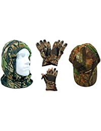 CAMO SNOOD, LARGE GLOVES AND CAP
