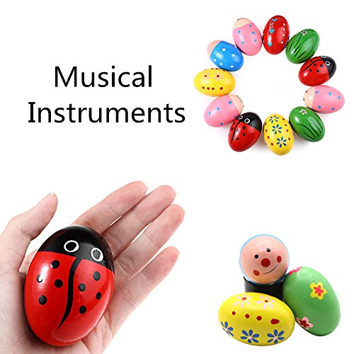Scrox 1Pcs Cute Color Cartoon Wooden Sand Eggs Egg Instruments Percussion Musical Toys Colorful Wooden Egg Shakers Maracas Shakers for Early Children Kids Educational(Random Color),7*4.5CM
