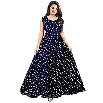Mudrika RayonWomen Long Dresses Anarkali Dress (Multicolour, Free Size)