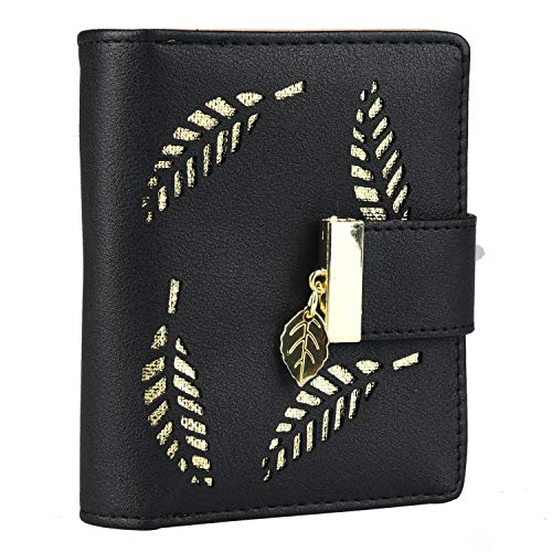 Damen Geldbörse Frauen Kleine Brieftasche Geldbeutel aus PU Leder mit Blatt Anhänger Kartensteckplätze ID Fenster - Frauen Kreditkarte Brieftaschen