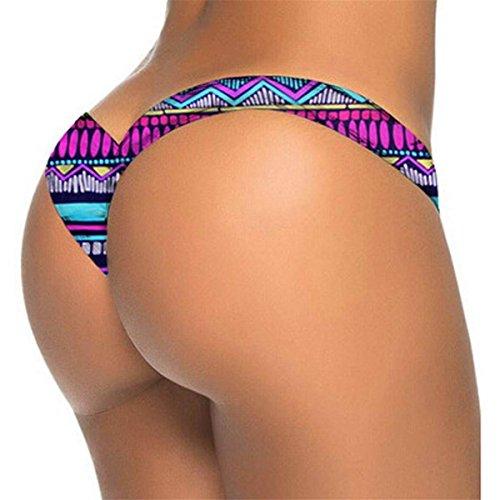 BadeanzüGe Bademode Bikini Tankini,Damen Brasilianische Print Bikini Bottom Thong Badestrand Badeanzug Bademode (Hot Pink, S) (Hot Bikinis Thong)