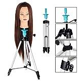 Beauty Star Verstellbar Puppenkopfständer für Übungskopf Friseur Frisierkopf Übungskopf Ständer mit Tragetasche, 58-10