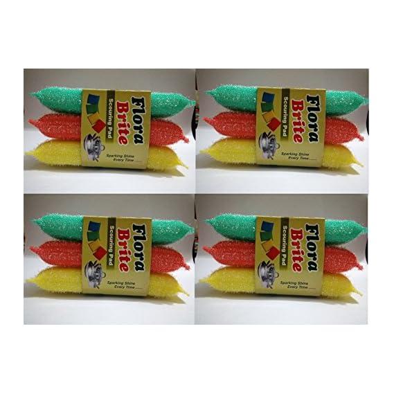 12 pcs Heavy Multi Colour Sponge Foam Pad Scrubber for cleaning Utensils ,Tiles etc .