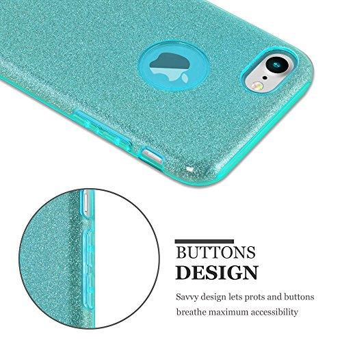 Cadorabo - Luxueuse pour Apple iPhone 7 Ultra Slim TPU Paillettes Etui Housse Coque Case Cover Bumper Gel (silicone) Brillant Diamant en ARGENT-POUSSIÈRE-D'ÉTOILES TURQUOISE-POUSSIÈRE-D'ÉTOILES