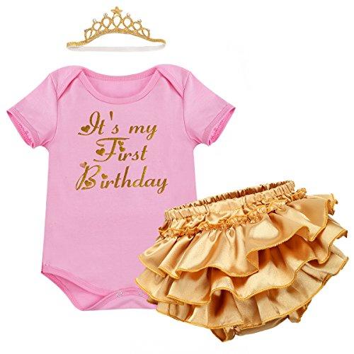 IWEMEK Baby Mädchen 1. Geburtstag Tutu Kleid Set Romper + Gold Pumphose/Bloomers + Krone Stirnband Geschenk Säuglings Prinzessin 3 Stück Outfits Verkleidung Fotoshooting Kostüm Rosa 6-12 Monate -