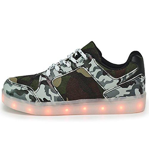DoGeek Enfant LED Chaussure 7 couleurs Baskets Lumineuse Filles Gar?on Chargeur USB Chaussure Lumineuse Brun