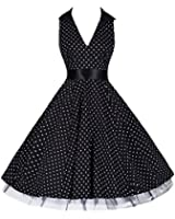 Pretty Kitty Fashion 50s Schwarz Weiß Polka Dot Retro Kleid