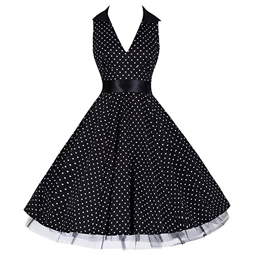 Schnelle Lieferung Rockabilly Black 50s Style Party Dress ~ H&r ~uk8 ~ Red Polkadot Pin Up Swing Kleider Kleidung & Accessoires