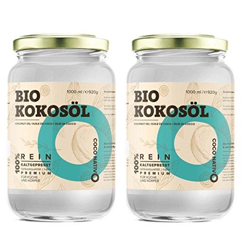 Olio di cocco biologico extra vergine coconativo – 2x1000ml – crudo e spremuto a freddo; organico e puro; non processato, (bio nativo), ideale per capelli, per il corpo e ad uso alimentare