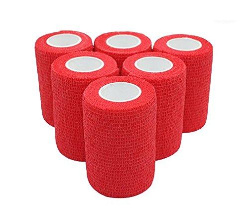 Haftbandage - 6 Rollen 7,5 cm x 4,5 m, rot, selbstklebend, elastische Bandage