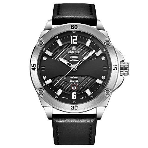 Moda Sera (Shizhen Uhren, Stonehenge, Sport, Nachtlicht, Wasser, Mode, Männerhand. 12 * 45 * 220mm/Weißer, schwarzer Riemen)