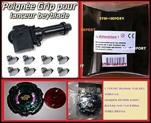 1 Lanceur grip + 8 boulon metal pour toupies beyblade + 1 TOUPIE BEYBLADE TAKARA TOMY