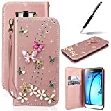GrandEver Custodia per Samsung Galaxy J7 2016 , Eleganti Farfalle e Bianchi Fiori Rhinestone Glitter Bling Della Copertura del Diamante Folding Case Cover in PU pelle Borsa Portatile Shock-Absorption Ultra Slim Protezione Cover - Rosa Oro