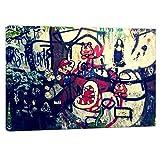 Druck auf leinwand Banksy Graffiti - Bild Super Mario Collage ! Bild fertig auf Keilrahmen !Kunstdrucke, Wandbilder, Bilder zur Dekoration - Bank (90x60cm)