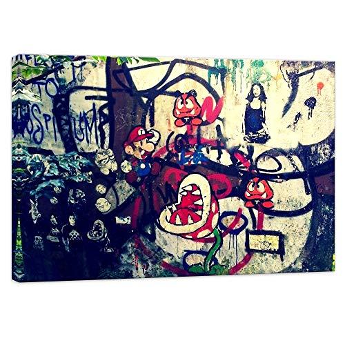 Druck auf leinwand Banksy Graffiti - Bild Super Mario Collage ! Bild fertig auf Keilrahmen !Kunstdrucke, Wandbilder, Bilder zur Dekoration - Bank (30x40cm)