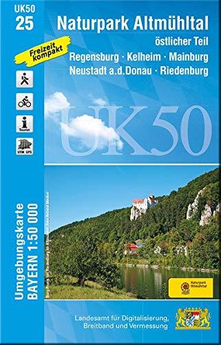 UK50-25 Naturpark Altmühltal östlicher Teil: Regensburg, Kelheim, Mainburg, Neustadt a.d.Donau, Riedenburg, Dietfurt, Hemau, Abensberg, Vohburg ... Karte Freizeitkarte Wanderkarte)